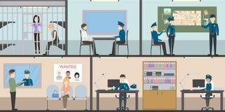 Ensemble d'intérieur de commissariat de police illustration stock