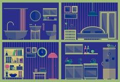 Ensemble d'intérieurs de vecteur avec des meubles Image stock