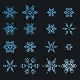 Ensemble d'isolement abstrait de flocons de neige, élément d'hiver pour la conception Photos libres de droits