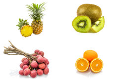Ensemble d'isolement de fruits comprenant l'agrume orange de litchi de kiwi d'ananas sur le fond blanc Image libre de droits
