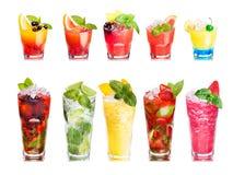 Ensemble d'isolement de macédoines de fruits Photo stock