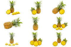 Ensemble d'isolement de tranches de fruit d'ananas sur le fond blanc avec le chemin de coupure Images stock