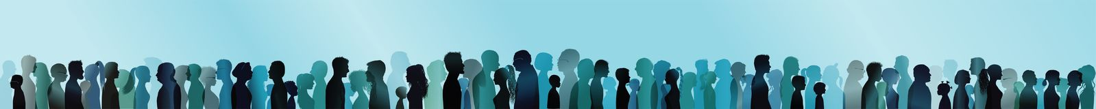 Ensemble d'isolement grand groupe de familles Silhouette color?e dans le profil Visage t?te community Exposition multiple bleue d illustration libre de droits