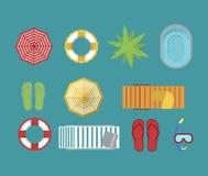 Ensemble d'isolement par accessoires de vacances de plage de famille illustration libre de droits