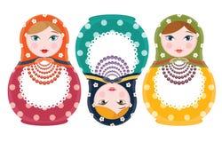 Ensemble d'isolement par poupées russes d'emboîtement de trois éléments - illustration plate de vecteur de style Photo stock