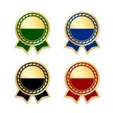 Ensemble d'isolement par rubans de récompense Médaille de conception d'or, label, insigne, certificat La meilleure vente de symbo Images stock