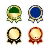 Ensemble d'isolement par rubans de récompense Médaille rouge de conception d'or, label, insigne, certificat E Images libres de droits