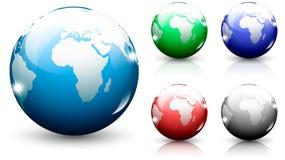Ensemble d'isolement par sphère de globe Images stock