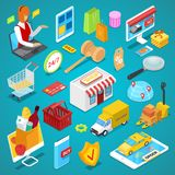 Ensemble 3D isométrique d'achats en ligne Image stock