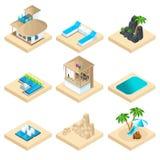 Ensemble d'Isometry de récréation sur la plage dans un pays chaud, vacances, voyage, mer, sable, tourisme Un grand ensemble d'icô illustration libre de droits