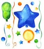 Ensemble d'?l?ments d?coratifs Ballons de partie de différentes formes : Rond, ovale ; ronds, étoiles, flamme Bleu, vert, orange photos stock