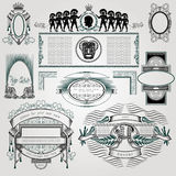 Ensemble d'élément de livre de vintage calligraphique et silhouette de décoration de page Images libres de droits