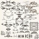 Ensemble d'éléments calligraphiques de vecteur pour la conception Images libres de droits