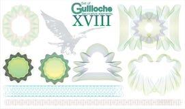 Ensemble d'éléments décoratifs de guilloche Images libres de droits