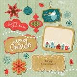 Ensemble d'éléments de Noël et d'an neuf Images stock