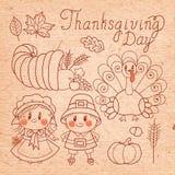 Ensemble d'éléments de vintage pour le thanksgiving. Image stock