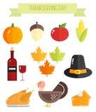 Ensemble d'éléments plats colorés de thanksgiving Photo stock
