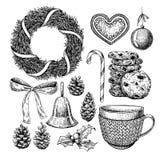 Ensemble d'objet de Noël Illustration tirée par la main de vecteur Icônes de Noël Image stock