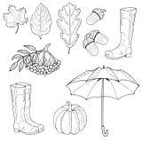 Ensemble d'objets d'automne Feuille d'érable, une feuille de chêne, un gland, bottes en caoutchouc, un parapluie, une sorbe, un p illustration de vecteur