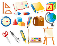 Ensemble d'objets d'école illustration stock