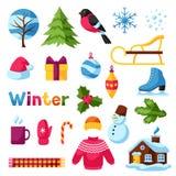 Ensemble d'objets d'hiver Articles de vacances de Joyeux Noël, de bonne année et symboles Photos stock