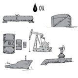 Ensemble d'objets d'industrie pétrolière  Photographie stock libre de droits