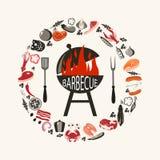 Ensemble d'objets de barbecue illustration de vecteur