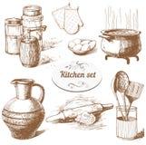 Ensemble d'objets de cuisine Images libres de droits