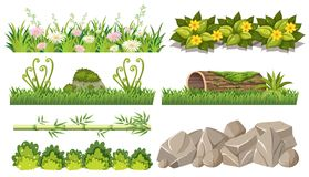 Ensemble d'objets de forêt illustration de vecteur