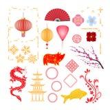Ensemble d'objets de la nouvelle année chinoise heureuse 2019 illustration stock