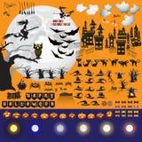 Ensemble d'objets et d'éléments de Halloween pour votre conception Photos libres de droits