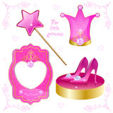 Ensemble d'objets magiques pour votre petite princesse Images stock