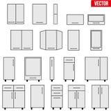 Ensemble d'objets modulaires de cuisine Image libre de droits