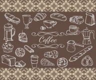 Ensemble d'objets peu précis de café Photos libres de droits