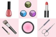 Ensemble d'objets pour le maquillage et la manucure Images stock
