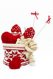 Ensemble d'objets pour le tricotage à la main et le crochet Photos stock