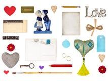 Ensemble d'objets romantiques pour Valentine et d'autres conceptions d'amour Image libre de droits