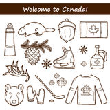 Ensemble d'objets tirés par la main de bande dessinée sur le thème de Canada photographie stock libre de droits