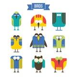 Ensemble d'oiseau de bande dessinée Image stock