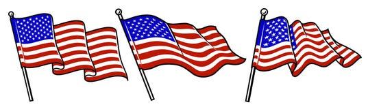 Ensemble d'onduler des drapeaux des Etats-Unis illustration stock