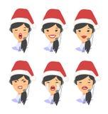 Ensemble d'opérateur féminin de téléphone de support à la clientèle d'emoji dans le chapeau de Noël Travailleur de Callcenter ave illustration stock