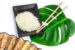 Ensemble d'Oriental de riz, de baguettes, de feuille verte et de transp Photo stock