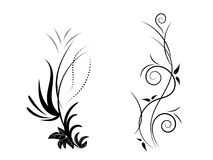 Ensemble d'ornement floral noir et blanc illustration stock