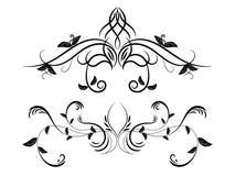 Ensemble d'ornement floral noir et blanc illustration stock