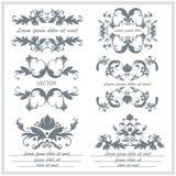 Ensemble d'ornements floraux décoratifs dans le style de victorian Photo libre de droits