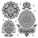 Ensemble d'ornements floraux indiens mandala henné Image libre de droits