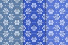 Ensemble d'ornements floraux Modèles sans couture bleus verticaux Photos libres de droits