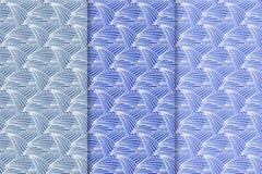 Ensemble d'ornements floraux Modèles sans couture verticaux bleus Photo stock