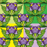 Ensemble d'ornements floraux - sans couture avec l'iris fleurit Photos libres de droits
