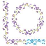 Ensemble d'ornements - frontière florale tirée par la main et rond décoratifs Photographie stock